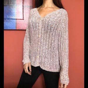 EUC Talbots knitted ribbon light pink cardigan